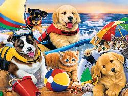 Beach Party (Playful Paws) Dogs Large Piece