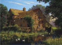 By the Stream Cottage/Cabin Jigsaw Puzzle