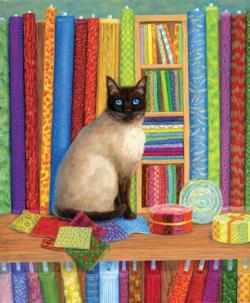 Quilt Shop Cat Cats Jigsaw Puzzle