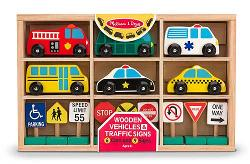 Wooden Vehicles and Traffic Signs Toy