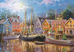 Sailing in the Village Boats Jigsaw Puzzle