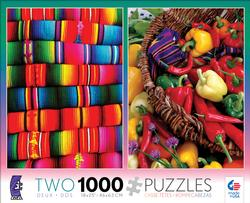 2 in 1  Mayan Blankets & Peppers (Photography) South America Jigsaw Puzzle