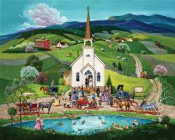 Spring Wedding Folk Art Jigsaw Puzzle