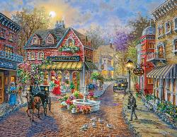 Cobblestone Village Street Scene Large Piece