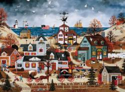 Home Before Dark (Jane Wooster Scott) Americana & Folk Art Jigsaw Puzzle