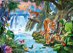Tiger's Family, 3000 pcs Waterfalls Jigsaw Puzzle