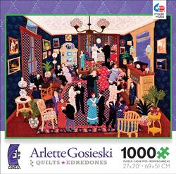 Party at Linette's (Quilts) Americana & Folk Art Jigsaw Puzzle