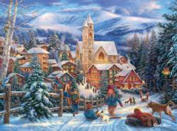 Sledding to Town Christmas Jigsaw Puzzle