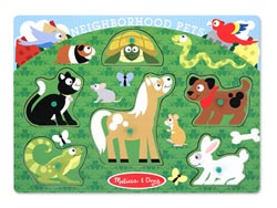 Peg Puzzle - Neighborhood Pets Other Animals Kids Puzzle