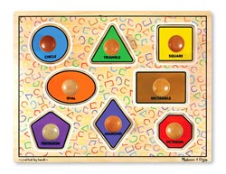 Large Shapes Jumbo Knob Educational Peg Puzzle