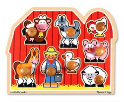 Large Farm Jumbo Knob Farm Animals Peg Puzzle