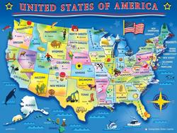 USA Map Wildlife Jigsaw Puzzle