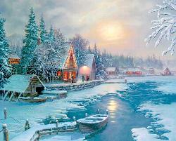Moonlit Lake Cottage/Cabin Jigsaw Puzzle