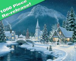 Moonlit Village Bridges Jigsaw Puzzle