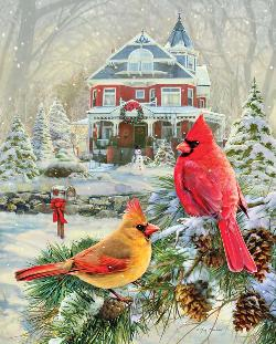 Cardinal Holiday Retreat Snow Jigsaw Puzzle