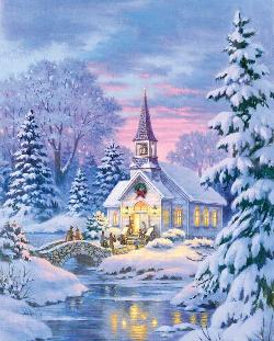 Village Chapel Winter Jigsaw Puzzle