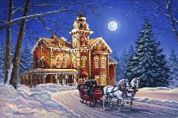 Moonlight Travelers Snow Jigsaw Puzzle