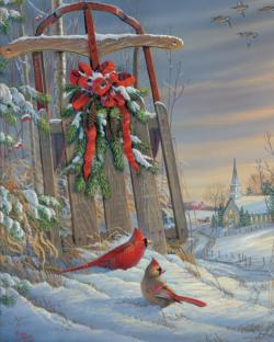 Winter Red Birds Christmas Jigsaw Puzzle