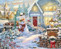 Silent Night Lane Snow Jigsaw Puzzle
