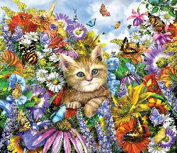 Kitty in the Garden Kittens Jigsaw Puzzle