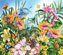 Butterflies in the Garden Flowers Jigsaw Puzzle