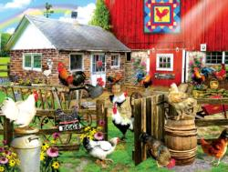 How's a Girl to Choose? Chickens & Roosters Jigsaw Puzzle