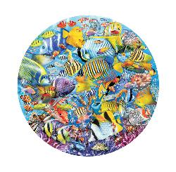 Swimming Around Marine Life Round Jigsaw Puzzle
