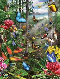 Butterfly Tropics Waterfalls Jigsaw Puzzle