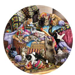 The Knitting Circle Cats Round Jigsaw Puzzle