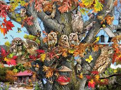 Owl Family Reunion Cottage/Cabin Jigsaw Puzzle
