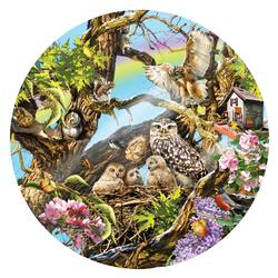 Family of Owls Flowers Round Jigsaw Puzzle