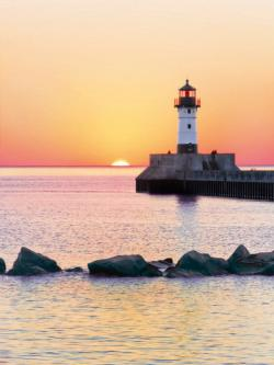 Sunset to the Lighthouse Sunrise/Sunset Jigsaw Puzzle