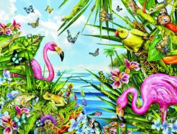 Flamingos by the Sea Flowers Jigsaw Puzzle