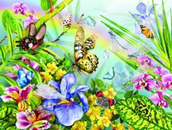 A Frog and Some Butterflies Flowers Jigsaw Puzzle