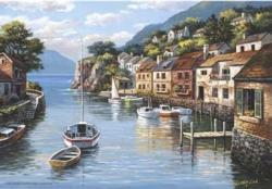 Village on the Water Lakes / Rivers / Streams Jigsaw Puzzle