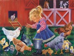 Little Farm Girl Chickens & Roosters Jigsaw Puzzle