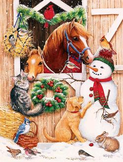 Barn Door Crowd Snowman Jigsaw Puzzle
