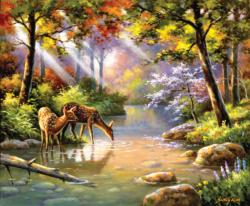 Doe Re Me Creek Wildlife Jigsaw Puzzle