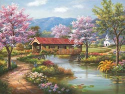 Covered Bridge in Spring Bridges Jigsaw Puzzle