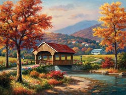 Covered Bridge in Fall Lakes / Rivers / Streams Jigsaw Puzzle