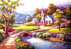 Bridge to the Chapel Landscape Jigsaw Puzzle