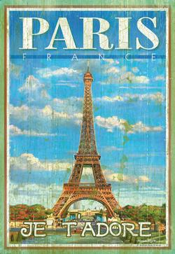 Paris - Je Tadore Eiffel Tower Wooden Jigsaw Puzzle