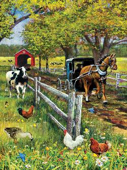 Horse and Buggy Farm Animals Jigsaw Puzzle