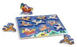 Chunky Puzzle - Santa & Reindeer Wooden Jigsaw Puzzle