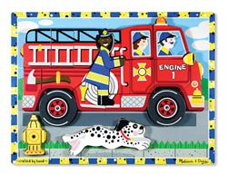 Fire Truck Vehicles Chunky / Peg Puzzle