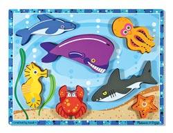 Sea Creatures Under The Sea Jumbo / Chunky / Peg Puzzle