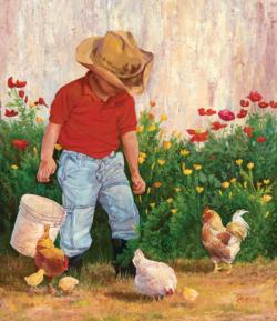 Country Boy Chickens & Roosters Jigsaw Puzzle