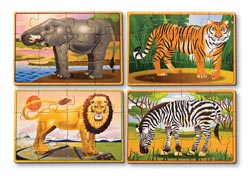 Wild Animals Puzzle in a Box Jungle Animals Children's Puzzles