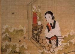 Lady Mirroring Peach Blossoms Asian Art