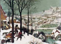 Hunters In The Snow Landscape